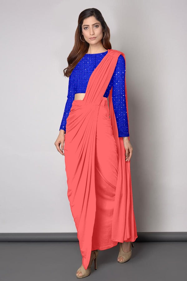 Different Blue And Peach Colored Festive Wear Sanna Silk Drape Saree