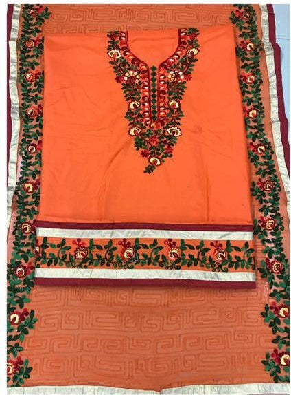 c1ebbbb72e Desiring Orange Embroidery work Salwar suit