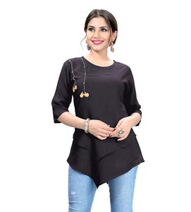 Desirable Dark Grey Designer Western Rayon Top