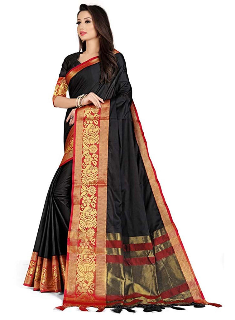 Demanding Black Art Silk With Printed Designer Saree