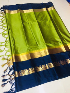 Jazzy Parrot green And Navy Blue Jacquard Design Cotton Silk Saree