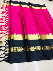 Blissful Pink And Black Jacquard Design Cotton Silk Saree