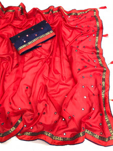 Beautiful Red Heavy Vichitra Silk Embroidery On Flexible Mirror Tikli & Richly Saree