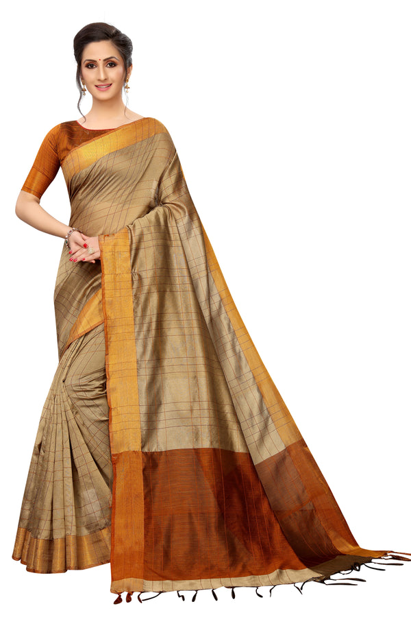 Refreshing Beige Cotton Designer Saree