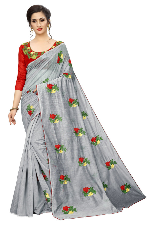Classical Grey Cotton Weaved and embroidery Saree