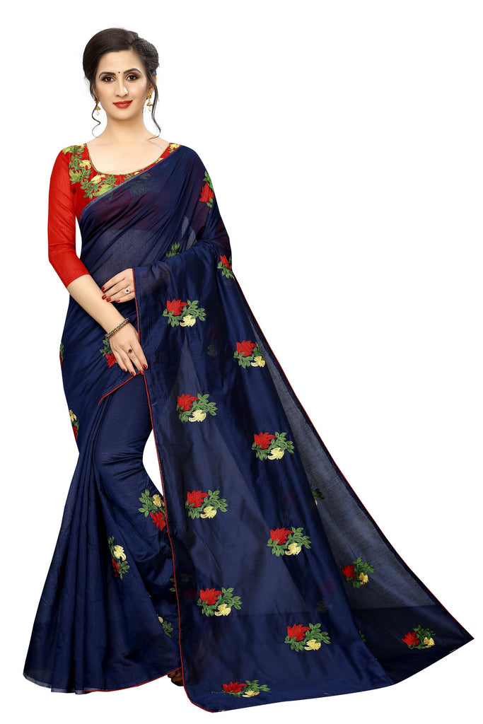 Demanding Navy Blue Cotton Weaved and embroidery Saree