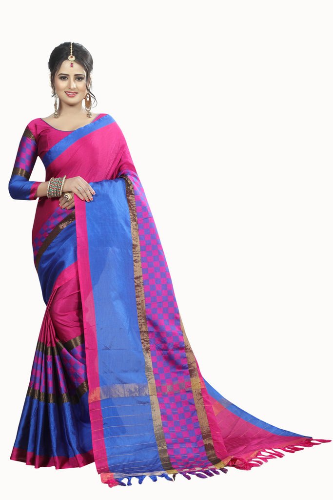 Amazeballs Pink And Blue Cotton Silk Designer Saree