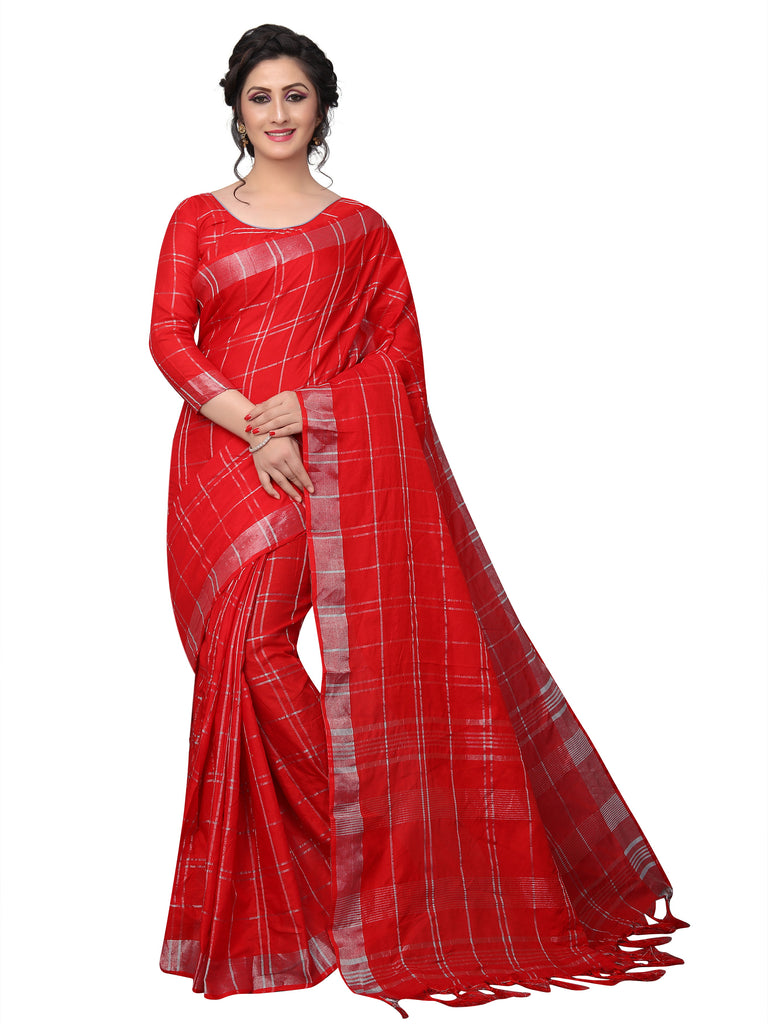 Magnetic Red Pure Linen Designer Saree