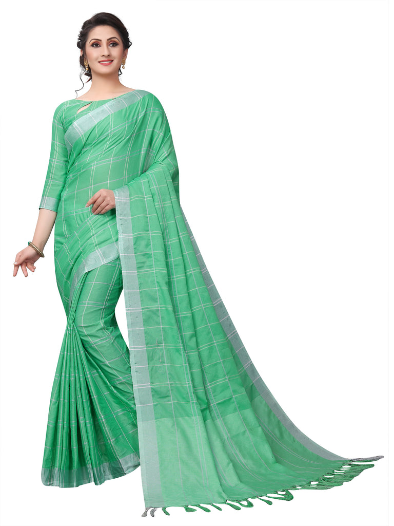 Mythological Green Pure Linen Designer Saree