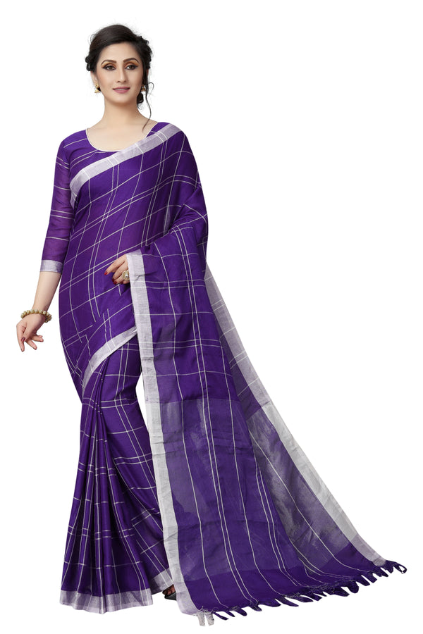 Hypnotic Purple Pure Linen Designer Saree