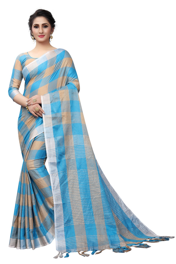 Hypnotic Sky Blue Pure Linen Designer Saree