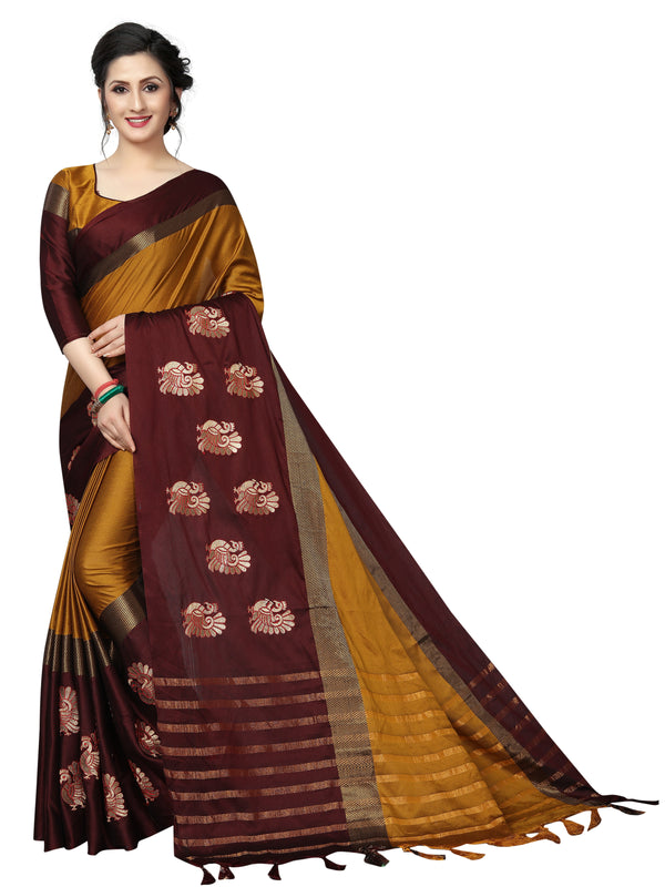 Starring Mustard Pure Linen With Embroidery Designer Saree