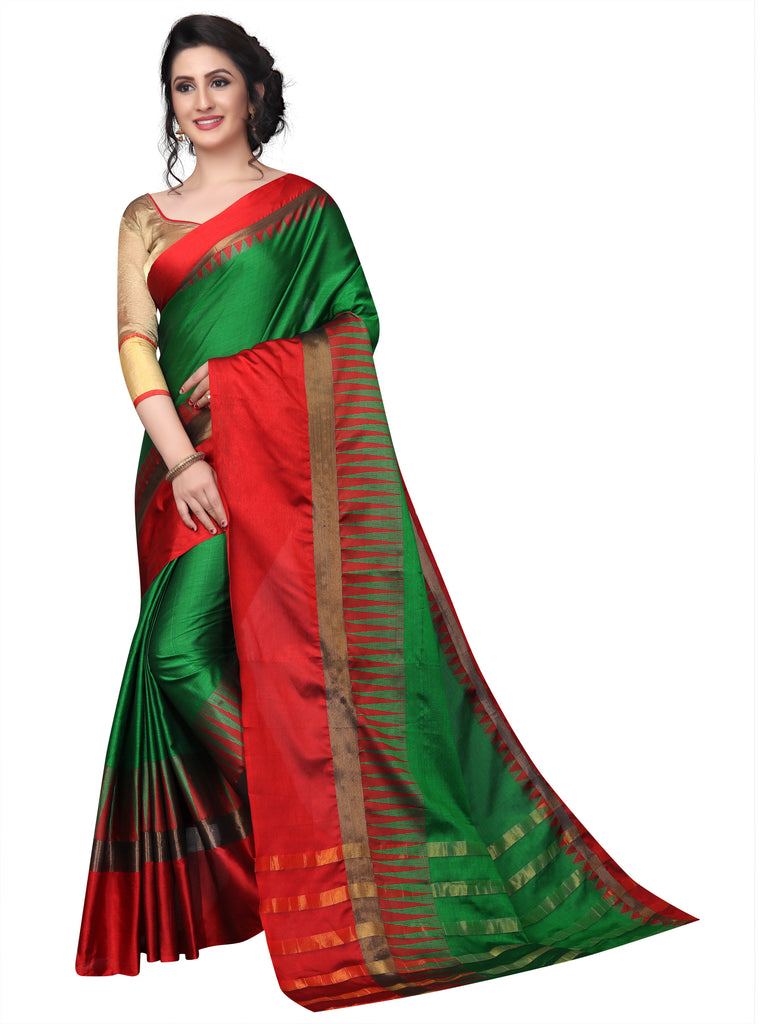 cce0049ad3 Fancy Green And Red Pure Linen Designer Saree – Nexa Fab