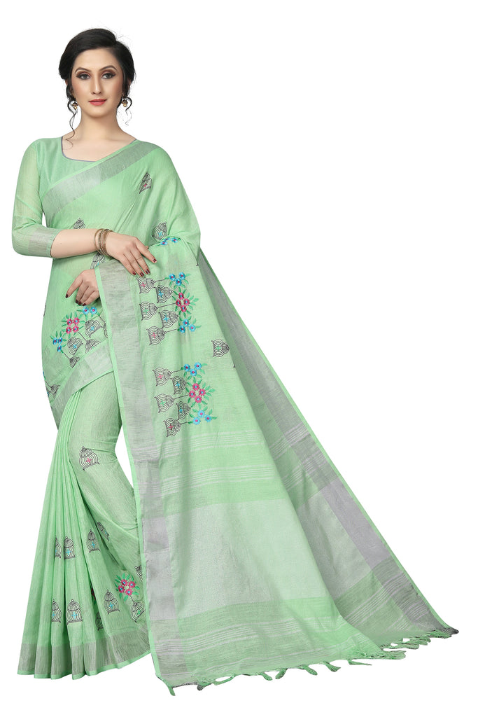 Fantastic Green pure Linen With Embroidery Work Designer Saree