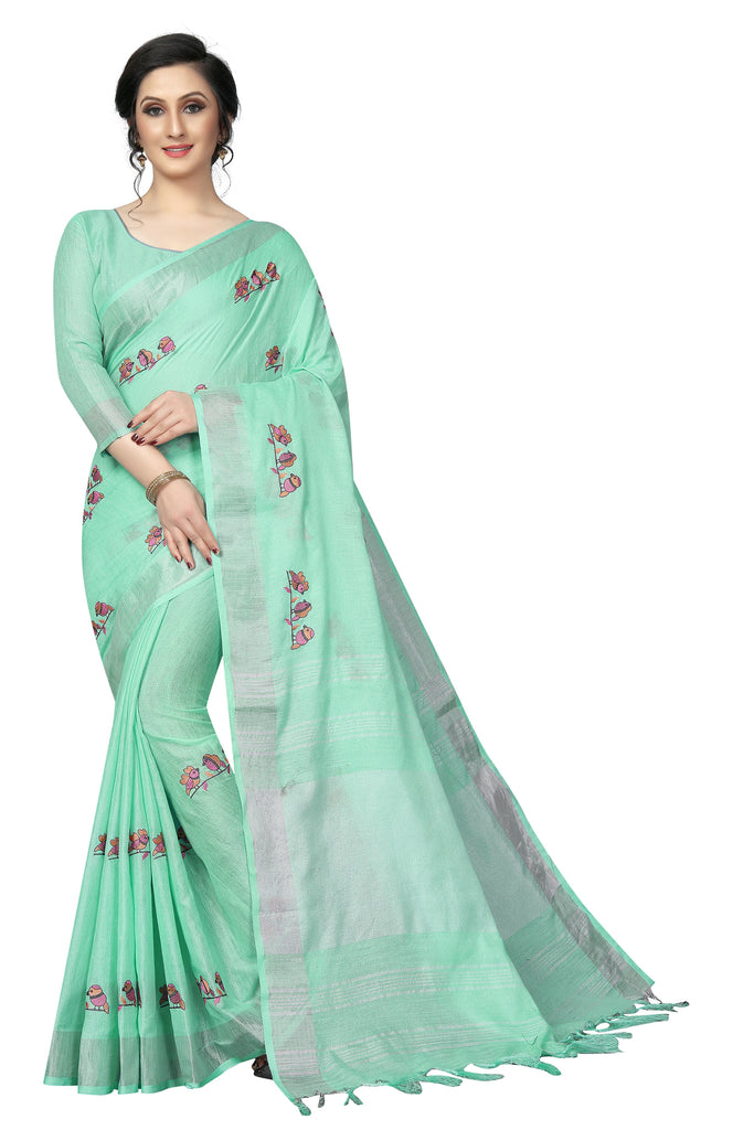 Gorgeous Rama Pure Linen With Embroidery Work Designer Saree