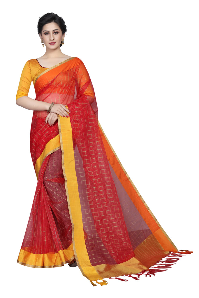 Imposing Red Pure Linen Designer Saree