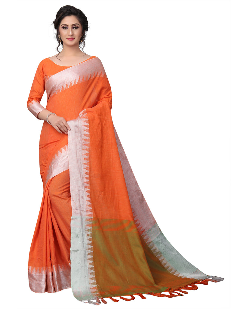Admirable Orange Pure Linen Designer Saree