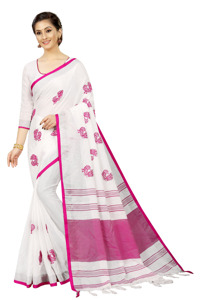 Sophisticated White Colored  With Embroidery Work Festive Wear  Pure Linen Designer Saree