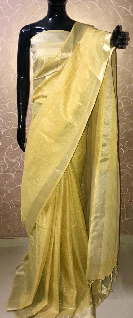 d2ffea708 Gleaming Yellow Pure linen cotton saree with zari checks all over and zari  pallu and blouse