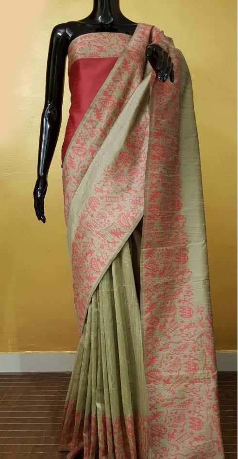 Elegant Beige Banglori Handloom Silk Saree with Rich Pallu