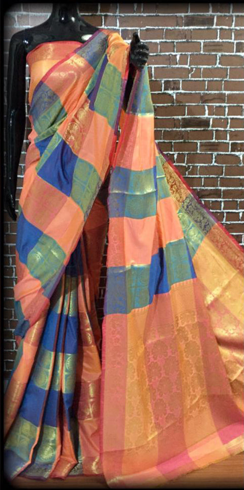 Ravishing Peach Soft banarasi Kanchipuram silk saree with all over zari weaves with brocade blouse piece