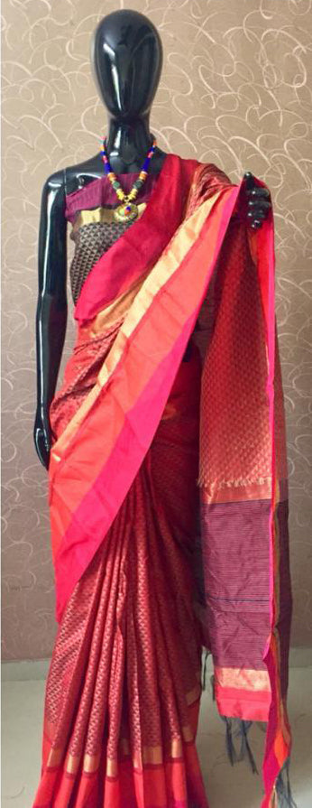 Graceful Red Raw silk saree with all over weaves with contrast pallu and  blouse piece