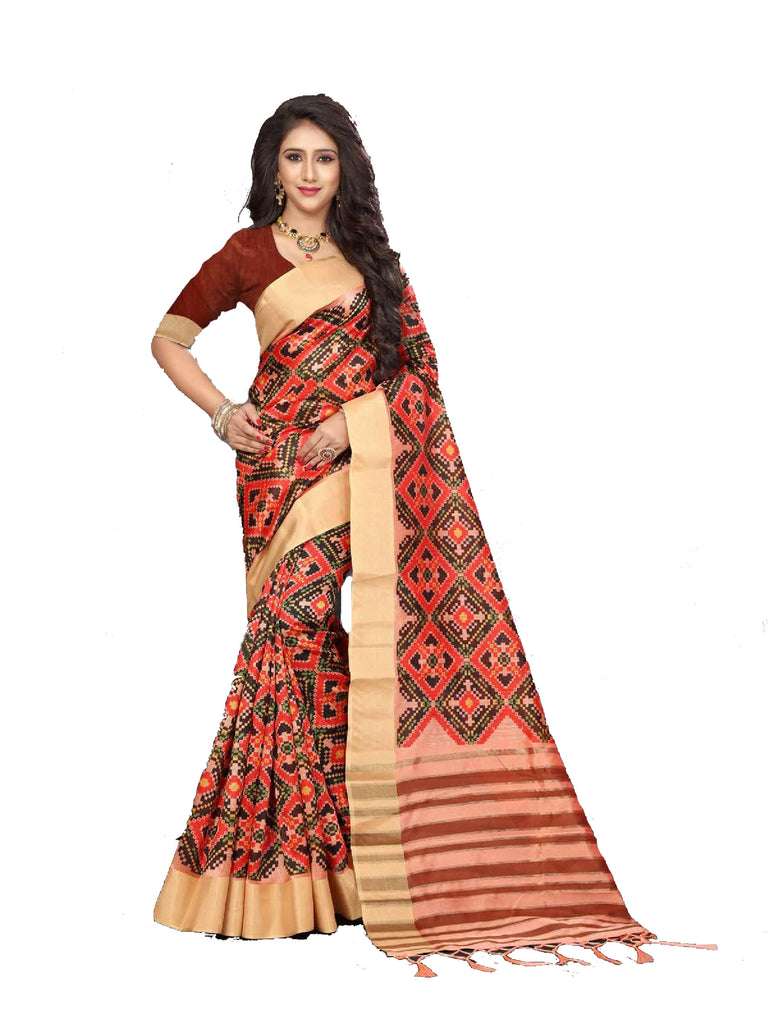 Engrossing Red Designer Lily Silk Zari Border Saree