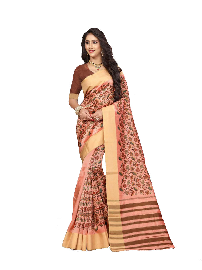 Flawless Peach Designer Lily Silk Zari Border Saree