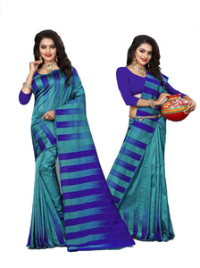 Delightful Blue And Rama Designer Lily Silk Saree