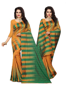 Fictitious Green And Yellow Designer Lily Silk Saree