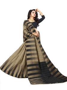 Pleasant  Beige And Black Designer Lily Silk Saree