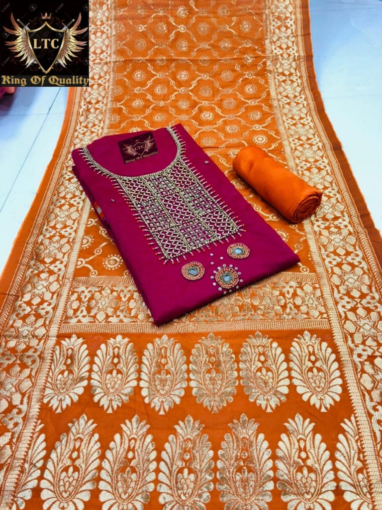 Snazzy Wine And Orange Colored Embroidered Modal Modal Chanderi Cotton With Khatli Hand Work Dress Material