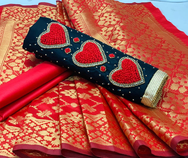 Intricate  Navy Blue And Red Colored  Jam Silk Cotton Material Salwar Suit
