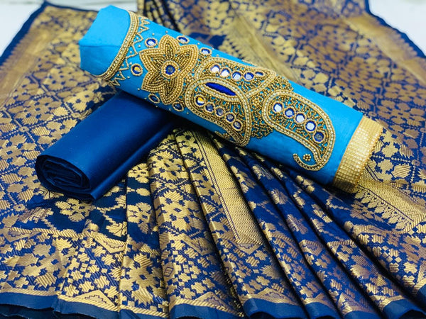 Entrancing  Sky Blue And Navy Blue Colored Jam Silk Cotton Salwar Suit With Khadi hand Work