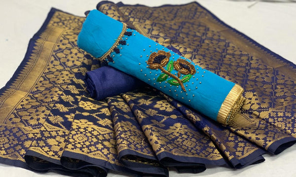 Captivating Sky Blye And Navy Blue Colored Modal Chanderi Cotton With Daman Moti Work Salwar Suit