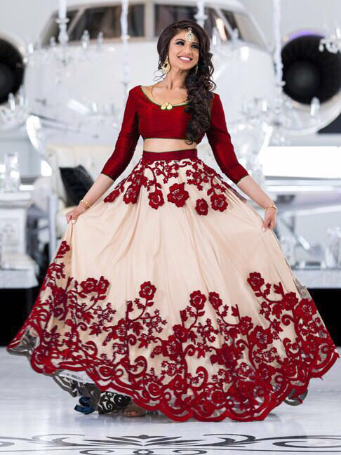 Blooming Red Net With Embroidery Work Designer Lehnga Choli