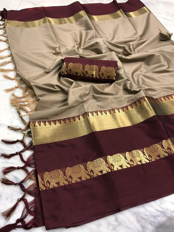 ExoTrek Beige And Dark Brown Jaquard Design Cotton Silk Saree