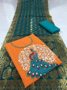 Hypnotic Orange And Rama Colored Embroidered Party Wear Chanderi Silk Dress Material