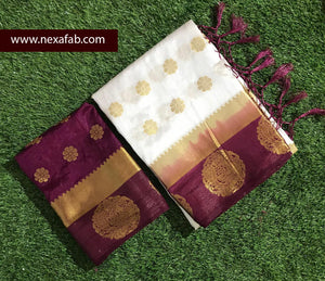 Jazzy White And Maroon Tussar Row silk Grand Pallu and with full body annam butta Designer saree