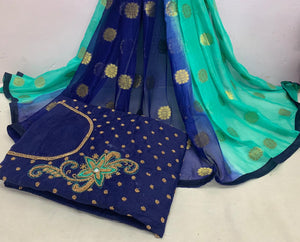 Fabulous Blue And Sky Blue Modal Chanderi Cotton With Khatali Hand Work Salwar Suit
