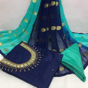 Imposing Navy Blue And Sky Blue Modal Chanderi Cotton With Khatali Hand Work Salwar Suit