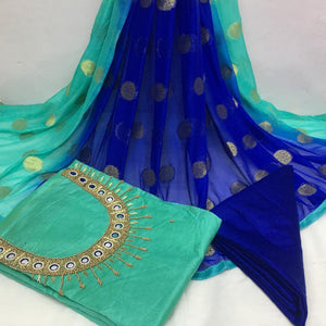 Mesmerising Rama And Blue Modal Chanderi Cotton With Khatali Hand Work Salwar Suit