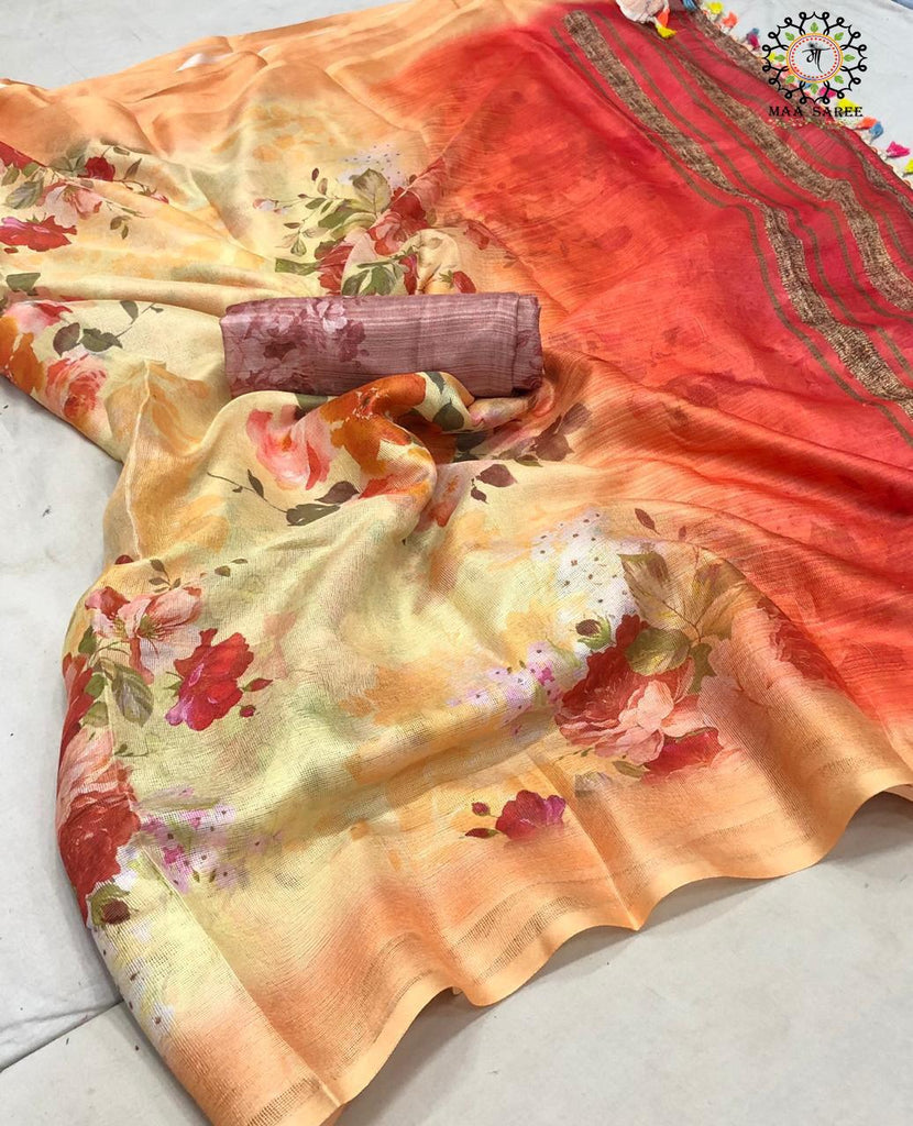 Glowing Orange Jute mix linen with HD print Designer Saree