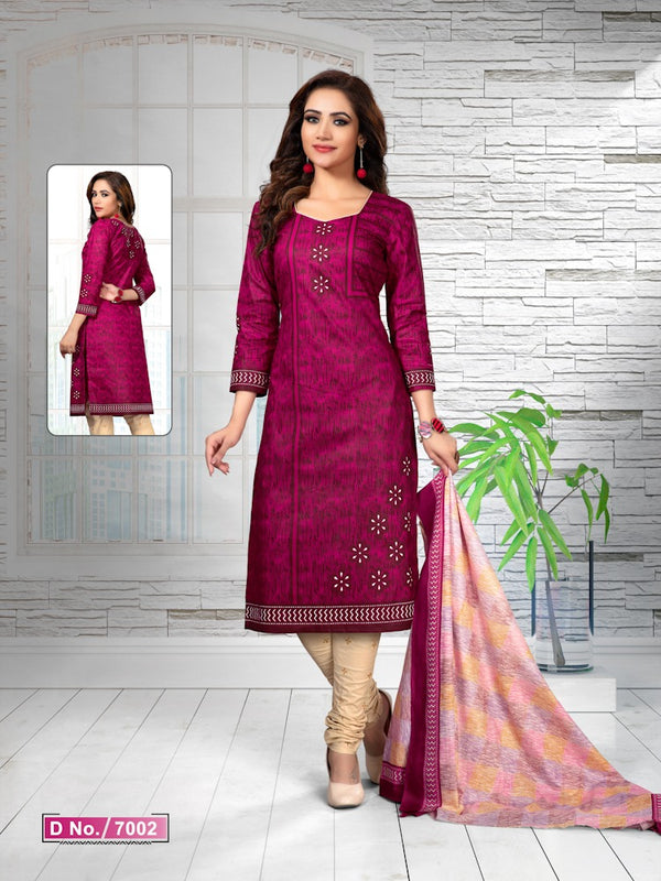 Implausible Pink And Cream Cotton Heavy Material Salwar Suit