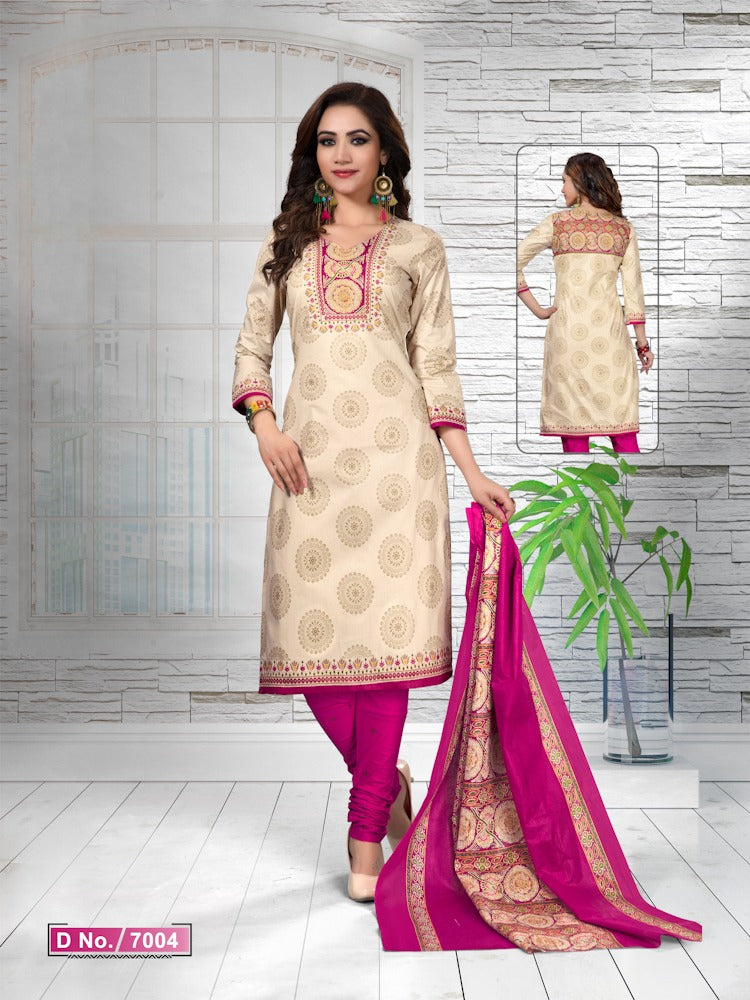Captivating Cream And Pink Cotton Heavy Material Salwar Suit