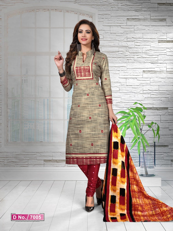 Graceful  Beige And Red Cotton Heavy Material Salwar Suit