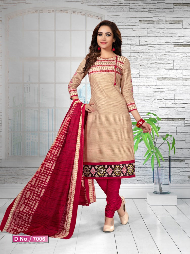 Elegant Cream And Pink Cotton Heavy Material Salwar Suit