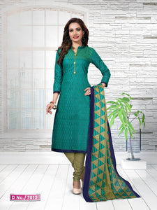 Mesmeric Rama And Mehndi Cotton Heavy Material Salwar Suit