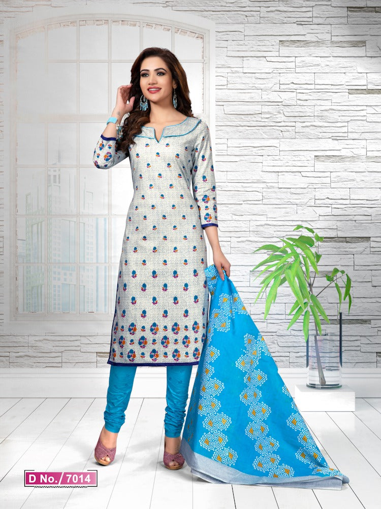 Gleaming Sky Blue And Blue Cotton Heavy Material Salwar Suit