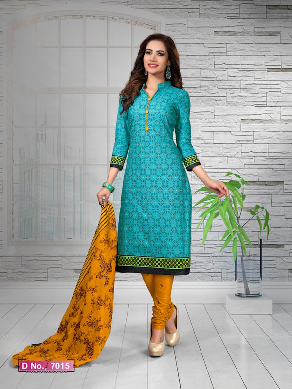 Alluring Rama And Mustard Cotton Heavy Material Salwar Suit